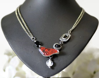 Wearable art pendant, short statement necklace, red necklace, asymmetrical necklace, stainless steel necklace, pendant necklace