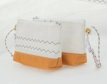Sailcloth Wristlet, Pumpkin Canvas, Recycled Sails, Autumn Fashion