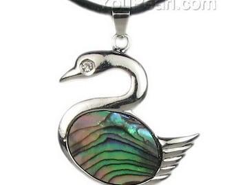 Abalone shell pendant, abalone paua pendant necklace, duck copper shell pendant, sea shell necklace, paua shell jewelry, SH1690-AP
