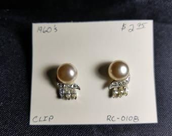 Earrings- Pearl rhinestone