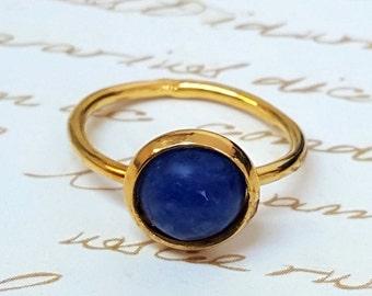 Gold Lapis Ring, Lapis Lazuli Ring, Blue Ring, Gemstone Ring, Solitaire Ring, Something Blue, Lapis Jewelry, Anniversary Gift, Mother Gift