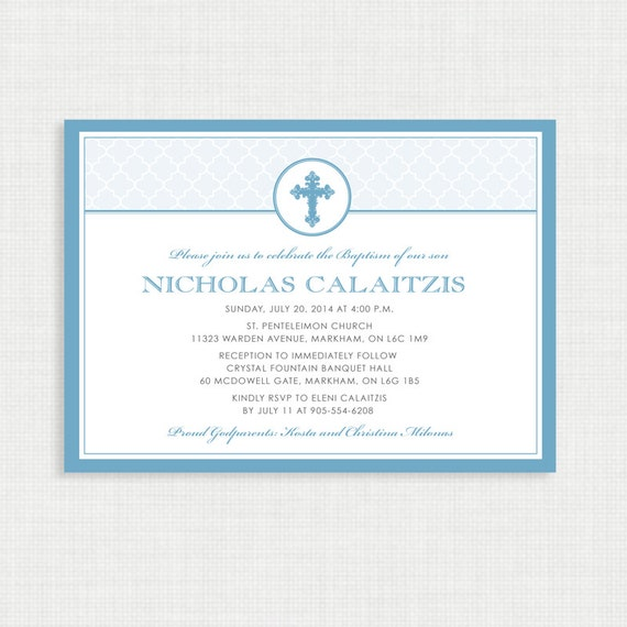 Printable Baptism Invitation- Boy Baptism Invitation - DIY Printable Invite - Christening, First Communion, Dedication, Baby Blessing