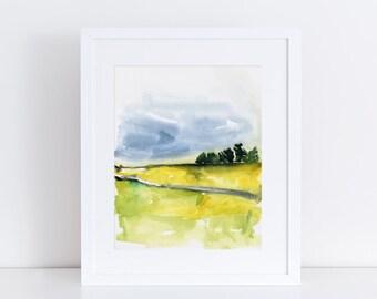 Watercolor Landscape, art Print, Modern Art, Landscape Painting, Expressionist, Minimalist