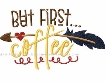 But First Coffee and feather arrow kitchen towel - Coffee Quote hand towel - Kitchen towel for Coffee lovers