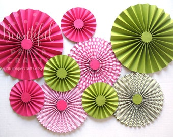 9 pc Hot Pink and Green Paper Fans  Paper Rosettes   Luau Party   Hawaiian Luau Party   Aloha Bridal Shower Backdrop Decor