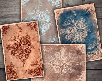 Vintage Roses Digital Papers - Digital Collage Sheet Download