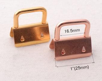 "1""(25mm),10 sets,Rose Gold/Golden Key Fob Hardware,for webbing/ Wristlets/Fabric Key Chains(kfh96)"