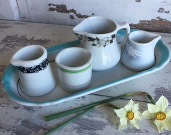 Vintage Restaurant Ware Creamer Pitchers - Green and White - Grindly Hotel Ware - Buffalo China