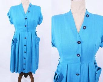 """ANNIVERSARY SALE // 1950s linen dress   blue hourglass interesting buttons shirt dress   vintage 50s dress   W 32"""""""