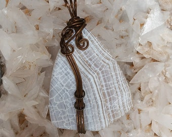 Long necklace with white agate shield and strawberry quartz white fire agate shield pendant aloadofball Image collections