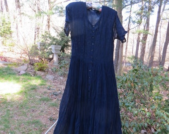 Vintage 80's Starina Long Indian Dress Gauzy Rayon two layer embroidered Dark Blue