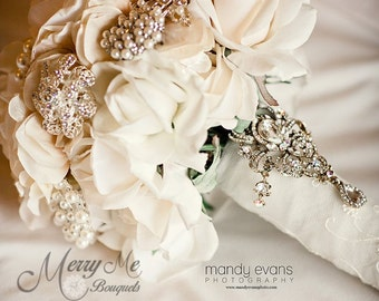 Ivory True Touch Rose Bouquet - Ivory Bridal Bouquet - True Touch Rose Bouquet - Rose Brooch Bouquet - Real Touch Rose Bouquet