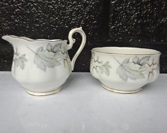 """Royal Albert Fine Bone China """"Silver Maple"""" Open Sugar Bowl and Creamer/ Sugar Bowls/Creamers/Royal Albert China/Afternoon Tea/Vintage/1960s"""