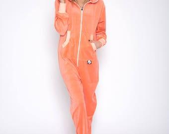 Sofa Killer peach color summer velours onesie, adult onesie, women onesie, plus size velours jumpsuits, velours clothing, velours overall