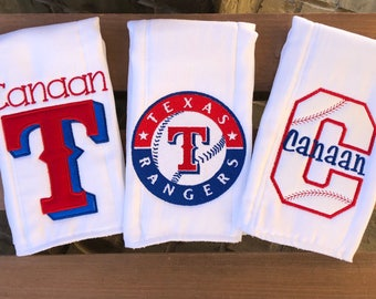 Set of 3 Texas Rangers burp cloth set for baby girl or boy. Rangers, texas rangers, burp cloth, baby gift, rangers baby, baseball baby