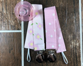 Baby Girl Pacifier Clips, Universal Pacifier Clips, Binky Clip, Teething Toy Clips, Dummy Clips, Teething Clip Holder, Baby Gift, Set of 2