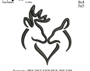 Buck and Doe Deer Heart embroidery machine2  . embroidery pattern . embroidery designs