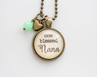 Nana Necklace - Family Jewelry - Mothers Day Gift - Text Jewelry - Personalized Gift Custom Necklace One Blessed Nana Grandma Pride Gramma