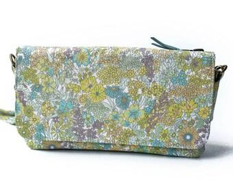 3way Wallet bag, Cross body bag, Travel bag, Shoulder bag,  Liberty of London  Margaret Annie (Green) , Acrylic coating