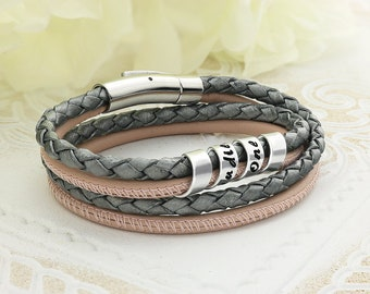 Personalized leather bracelet for women - Personalized braided bracelet - Braided leather bracelet - Womens personalized bracelets - Leather