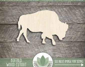Wood Bison Shape, Unfinished Wood Bison Buffalo Laser Cut Shape, DIY Craft Supply, Many Size Options, Blank Wood Shapes