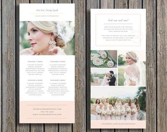Wedding Photographer Pricing Guide Template - Vista Print Rack Card Design - Digital Photoshop Templates