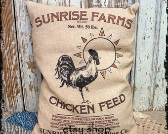 Handmade Primitive Sunrise Chicken Feedsack Style Pillow or Panel #76