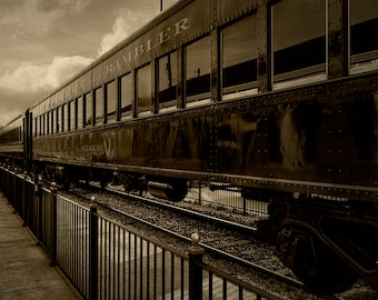 Steam Train Travel Print Americana Engine Railroad Rail Transportation Sepia Home Decor Art Photo