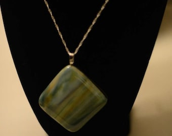 Fused Glass Pendant with Chain