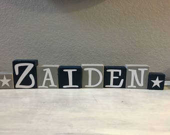 Texas baby gift etsy personalized letter blocks baby shower gift dallas cowboys stars custom nursery decorations boy room negle Images