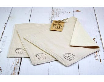reusable washable paper towels in Terry and cotton unbleached organic set of 3