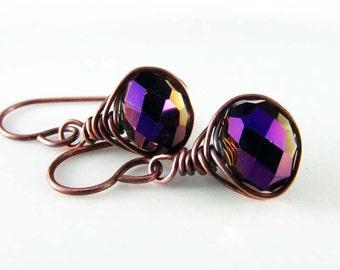 Amethyst Wire Wrapped Earrings Crystal Copper Earrings Wire Wrapped Jewelry