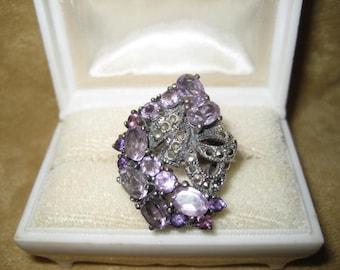 Sterling Amethyst Marcasite Cluster Ring Size 7 Vintage