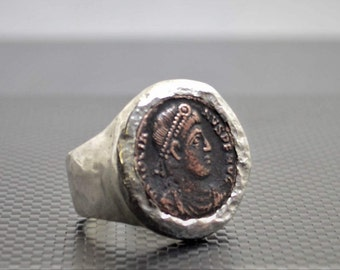 Rustic Silver Roman Coin Ring, Custom Made Coin Ring, Greek Coin Ring, Gift For Man, Heavy Silver Ring, Statement Ring, Large Hammered Ring