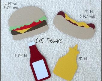 Die Cut Hamburger & Hot Dog Food Scrapbook Page Embellishments for Card Making Scrapbook or Paper Crafts