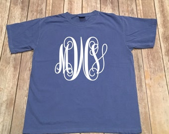 Monogrammed Comfort Color T-Shirt/Vinyl or Embroidered/Large Monogram/Small Monogram/Tee