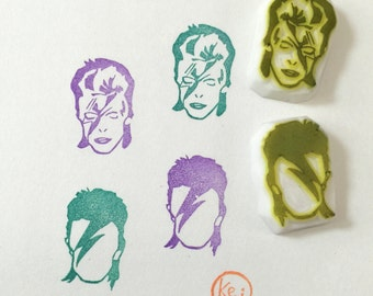 DAVID BOWIE - Hand Carved Rubber Stamps/Super Singer/People