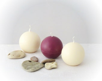 Minimalist candles, Marsala ball candles, a set of 3 ball candles, home decor, ecofriendly candles, gift for her, Valentine's day gift idea