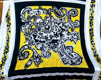 Yellow and black scarf panel fabric