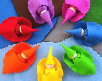 Set of 7 Rainbow Travelling Waldorf Gnomes with Leaf Sleeping Bags