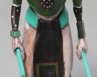 Lawrence Namoki carved cottonwood miniature Crow Mother kachina doll Hopi Native American Indian