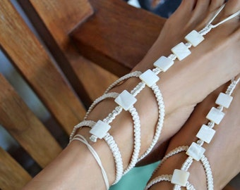 Gladiator Barefoot Sandals, White Wedding Barefoot Sandals, Boho Mother of Pearl Sandals, 1 Pair