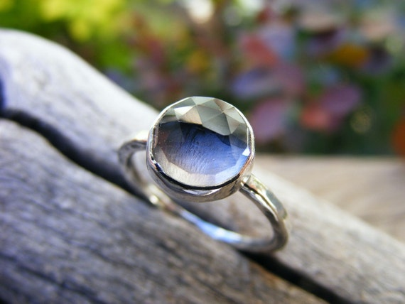 Crystal Quartz Ring, Clear Crystal Quartz Ring, Faceted Crystal Ring, Oxidized Crystal Ring- Storm