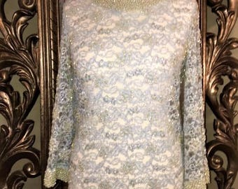 Delicate Vintage 1960's  Beaded Lace Long Sleeved Top- Pale Blue with Pearl and glass  beading . UK Size 12-14, USA Size 8-10,