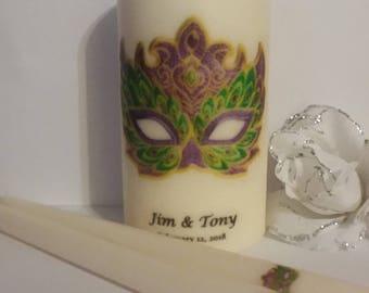 Masquerade, Mardi Gras, Wedding Unity Candle, masquerade theme, masquerade mask, unity candle set, personalized gift for couple