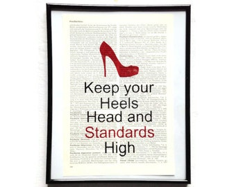 Standard high heels head vintage art print encyclopedia art print encyclopedia old book pages