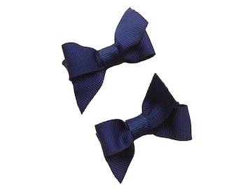 Small navy blue hair bows - navy blue bows, baby bows, toddler bows, girls bows, small bows, navy bows, navy baby bows, hair bows, bows