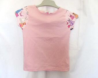 T-shirt fille manches courtes rose, dressing de fille 5 ans
