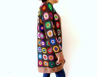 Vintage taupe wool and multicolored granny crochet jacket