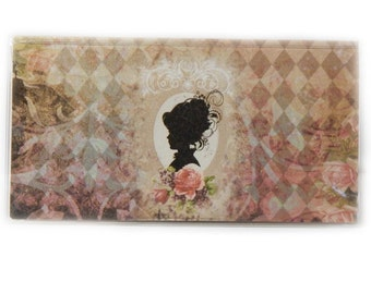 Checkbook Cover - Victorian Cameo - pretty silhouette checkbook holder - pink roses accessory - top tear or side tear